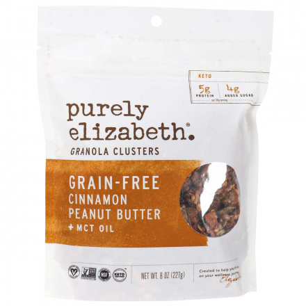 Front of Purely Elizabeth Grain-Free Cinnamon Peanut Butter + MCT Oil Granola Clusters. 227g