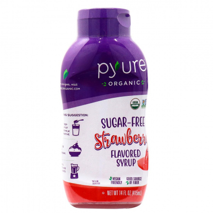 Pyure Organic Sugar-Free Keto Strawberry Flavoured Syrup, 415ml