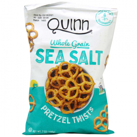 Quinn Gluten-Free Whole Grain Pretzel Twists Sea Salt, 198g