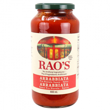 Front of Rao's Arrabbiata Fra Diavolo Hot Sauce, 680g