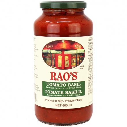 Front of Rao's Tomato Basil Marinara Sauce with Fresh Basil, 680g