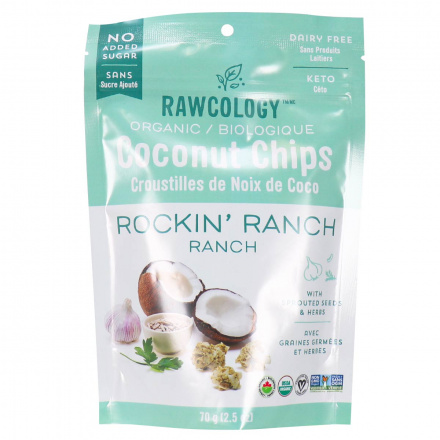 Front of Rawcology Rockin' Ranch Superfood Coconut Chips, 70g