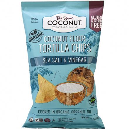 The Real Coconut Sea Salt & Vinegar Coconut Flour Tortilla Chips, 155g