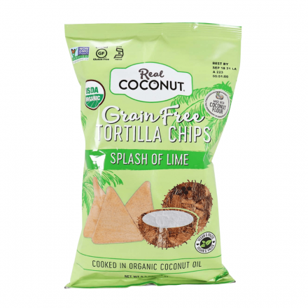 Front of Real Coconut Grain Free Tortilla Chips Splash of Lime, 155g