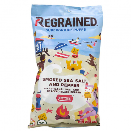 Front of ReGrained Supergrain+ Puffs Smoked Sea Salt and Pepper, 99g