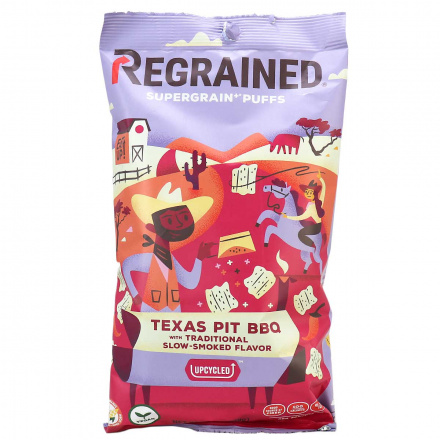Front of ReGrained Supergrain+ Puffs Texas Pit BBQ, 99g