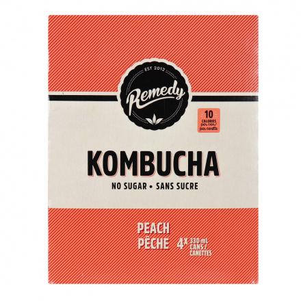 Front of Remedy No Sugar Kombucha Peach, 4 x 330mL cans