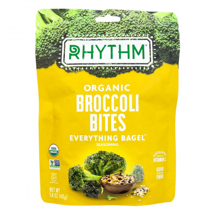 Front of Rhythm Superfoods Organic Broccoli Bites Everything Bagel, 40g