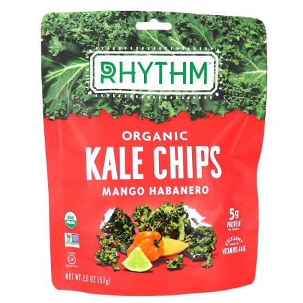 Front of Rhythm Superfoods Organic Kale Chips Mango Habanero, 57g