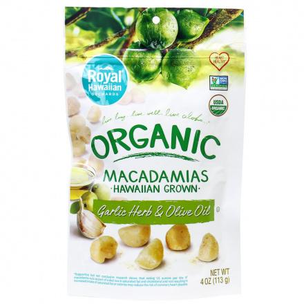 Royal Hawaiian Orchards Garlic Herb & Olive Oil Macadamia Nuts, 113g