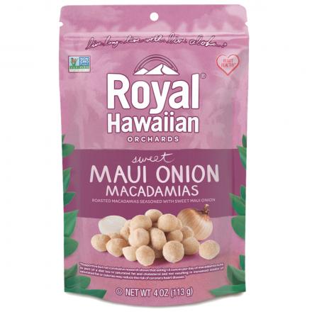 Front of Royal Hawaiian Orchards Sweet Maui Onion Macadamias, 113g