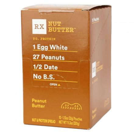 RX Nut Butter Peanut Butter, 10 squeeze packs