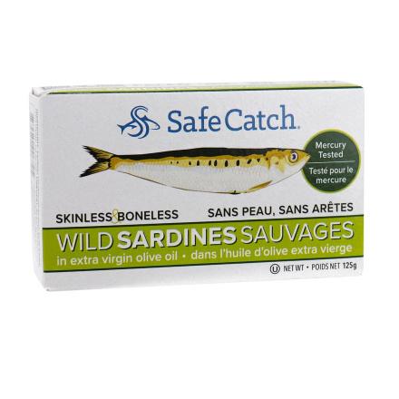 Front of Safe Catch Skinless & Boneless Wild Sardines in Extra Virgin Olive Oil, 125g