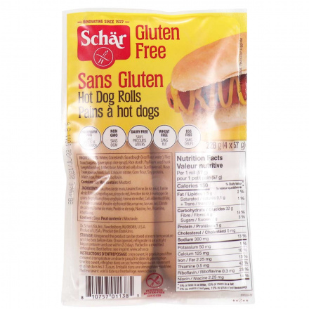 Front of Schär Gluten Free Hot Dog Rolls, 4 Rolls