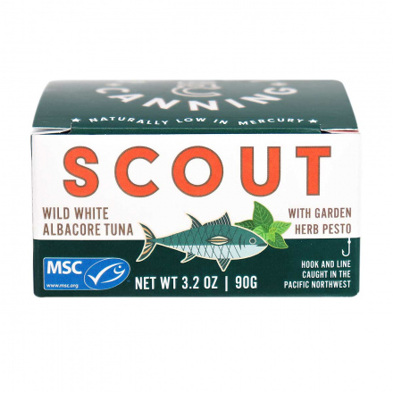 Front of Scout Canning Wild White Albacore Tuna with Garden Herb Pesto, 90g