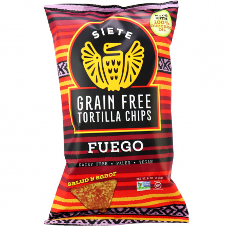 Front of Siete Fuego Grain Free Tortilla Chips, 113g