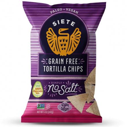 Front of Siete No Salt Grain Free Tortilla Chips, 142g