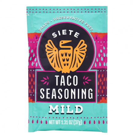 Front of Siete Taco Seasoning Mild, 37g