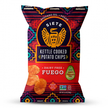 Front of Siete Grain-Free Kettle Cooked Potato Chips Fuego, 156g