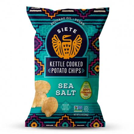 Front of Siete Grain-Free Kettle Cooked Potato Chips Sea Salt, 156g