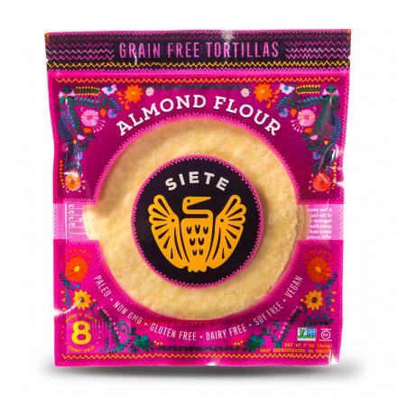 Front of Siete Almond Flour Tortillas 8-Count, 200g