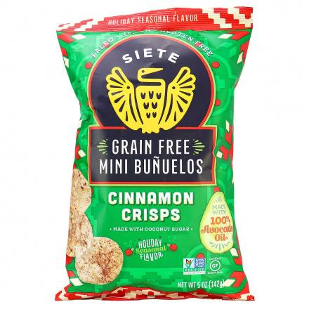 Front of Siete Grain-Free Mini Buñuelos Cinnamon Crisps, 142g