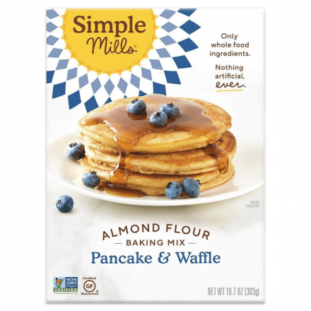Front of Simple Mills Grain-Free Almond Flour Baking Mix Pancake & Waffle, 303g