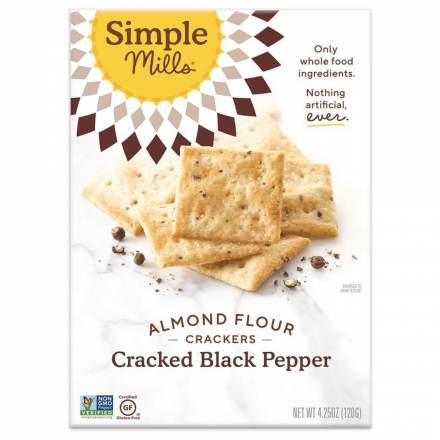 Simple Mills Grain-Free Almond Flour Crackers Cracked Black Pepper, 120g