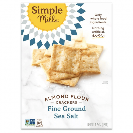 Front of Simple Mills Grain-Free Almond Flour Crackers Fine Ground Sea Salt, 120g