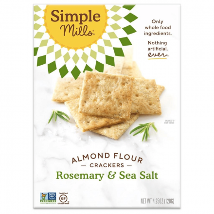 Front of Simple Mills Grain-Free Almond Flour Crackers Rosemary & Sea Salt, 120g