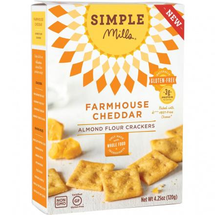 Simple Mills Farmhouse Cheddar Almond Flour Crackers, 120g