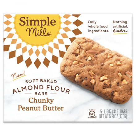Simple Mills Grain-Free Soft Baked Almond Flour Bars Chunky Peanut Butter, 5 Bars
