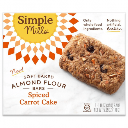 Front of Simple Mills Grain-Free Soft Baked Almond Flour Bars Spiced Carrot Cake, 5 Bars