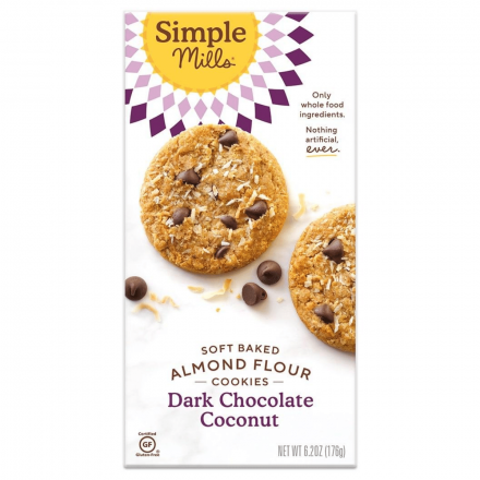 Front of Simple Mills Grain-Free Soft Baked Cookies Dark Chocolate Toasted Coconut, 176g