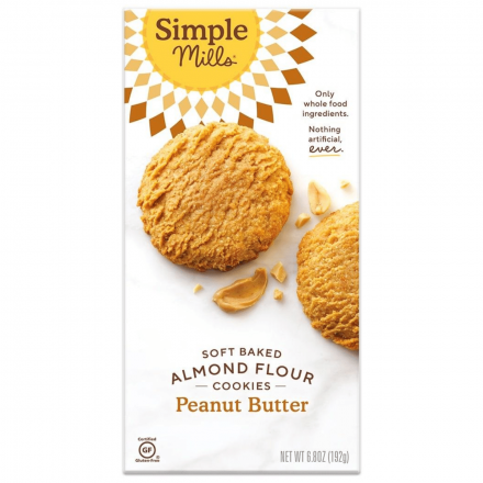 Front of Simple Mills Grain-Free Soft Baked Cookies Peanut Butter, 192g