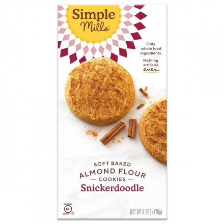 Front of Simple Mills Grain-Free Soft Baked Cookies Snickerdoodle, 176g