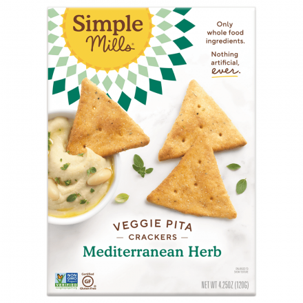 Front of Simple Mills Grain-Free Veggie Pita Crackers Mediterranean Herb, 120g
