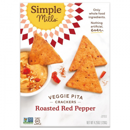 Front of Simple Mills Grain-Free Veggie Pita Crackers Roasted Red Pepper, 120g