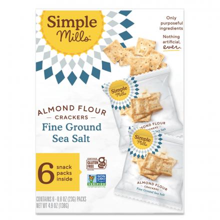 Front of Simple Mills Grain-Free Almond Flour Crackers Fine Ground Sea Salt Snack Pack, 138g