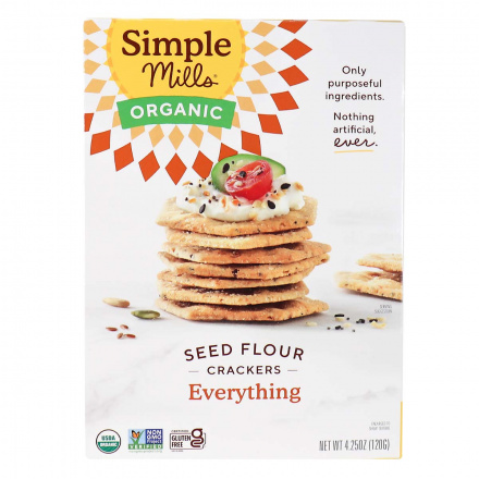 Front of Simple Mills Organic Seed Flour Crackers Everything, 120g