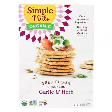 Front of Simple Mills Organic Seed Flour Crackers Garlic & Herb, 120g