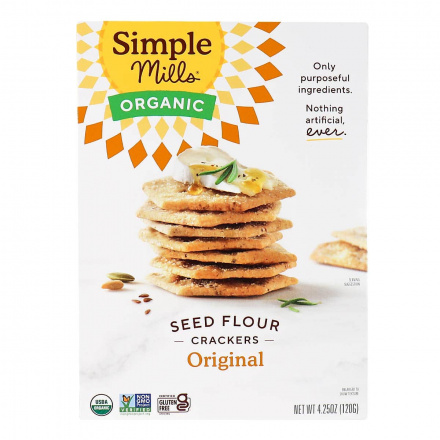 Front of Simple Mills Organic Seed Flour Crackers Original, 120g