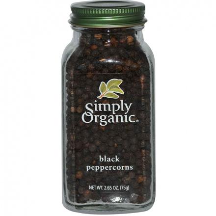 Simply Organic Black Whole Peppercorns, 75g