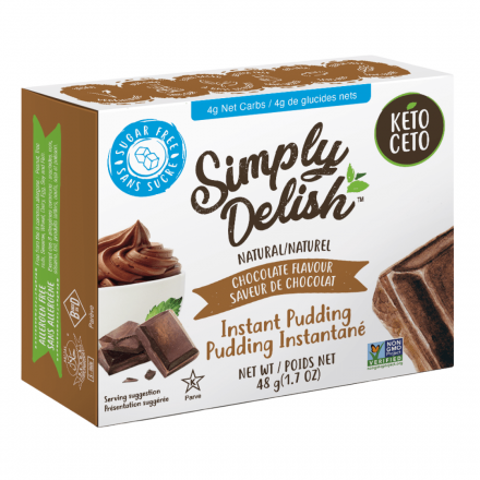 Front of Simply Delish Keto Chocolate Pudding, 48g