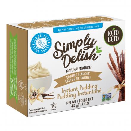 Front of Simply Delish Keto Vanilla Pudding, 48g