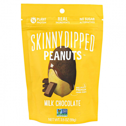 Front of Skinny Dipped Milk Chocolate Dipped Peanuts, 99g