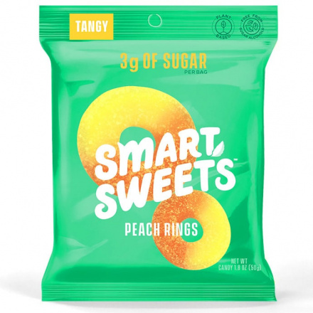 SmartSweets Low-Sugar Peach Rings, 50g Front