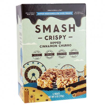 Smashmallow Smash Crispy Chocolate Dipped Cinnamon Churro, 6 bars