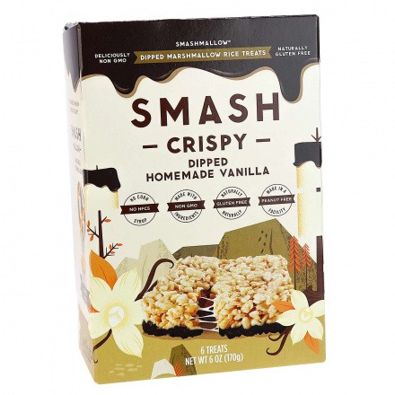 Smashmallow Smash Crispy Chocolate Dipped Homemade Vanilla, 6 bars