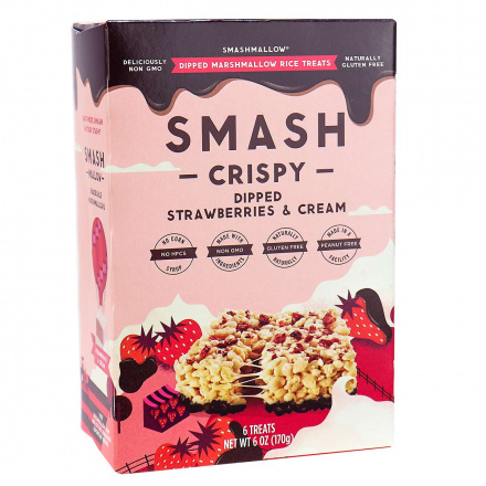 Smashmallow Smash Crispy Chocolate Dipped Strawberries & Cream, 6 bars